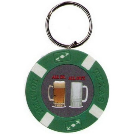 - All In All Out Beer Poker Chip Keychain BK1679