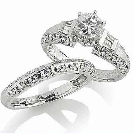 1.00 Carat (ctw) 14k White Gold Brilliant Round & Baguette Cut Diamond Semi Mount Ladies Engagement Ring (No Center Ston Baguette Diamond Ring Setting Mounting