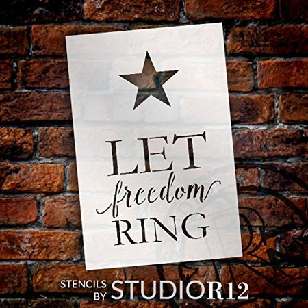 Patriotic Rings (Let Freedom Ring Stencil by StudioR12 | Patriotic with Star Word Art - Mini 4 x 6-inch Reusable Mylar Template | Painting, Chalk, Mixed Media | Use for Journaling, DIY)