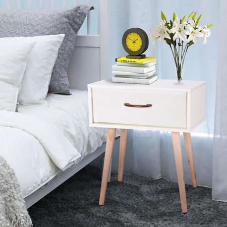 Yescom Sofa Bedside End Table Nightstand Coffee Table Solid Wood Legs with Fabric Drawer Bedroom Living Room ()