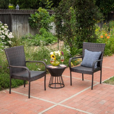 Dean Outdoor 3 Piece Wicker Stacking Chair Chat Set, Multibrown