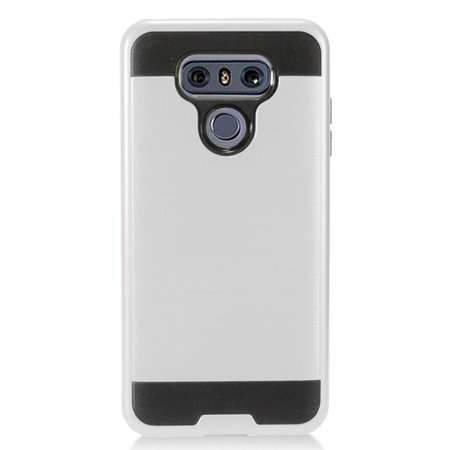 LG G6 Metallic Case, Super Slim Brushed Metallic Hybrid Hard Cover on TPU [Silver]