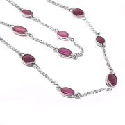 De Buman  Sterling Silver Oval-cut Natural Ruby Long Necklace