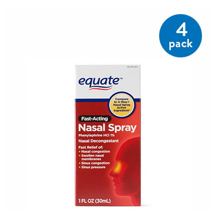(4 Pack) Equate Fast Acting Nasal Spray Solution, 1 - Soother Spray
