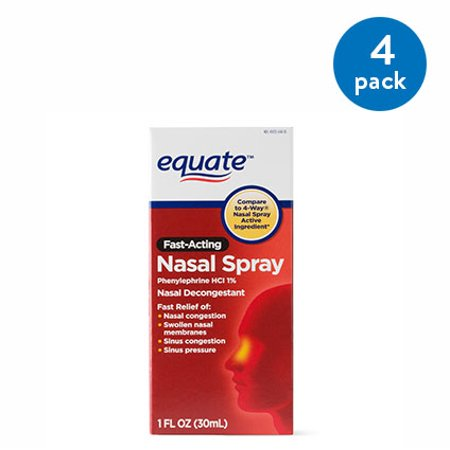 (4 Pack) Equate Fast Acting Nasal Spray Solution, 1