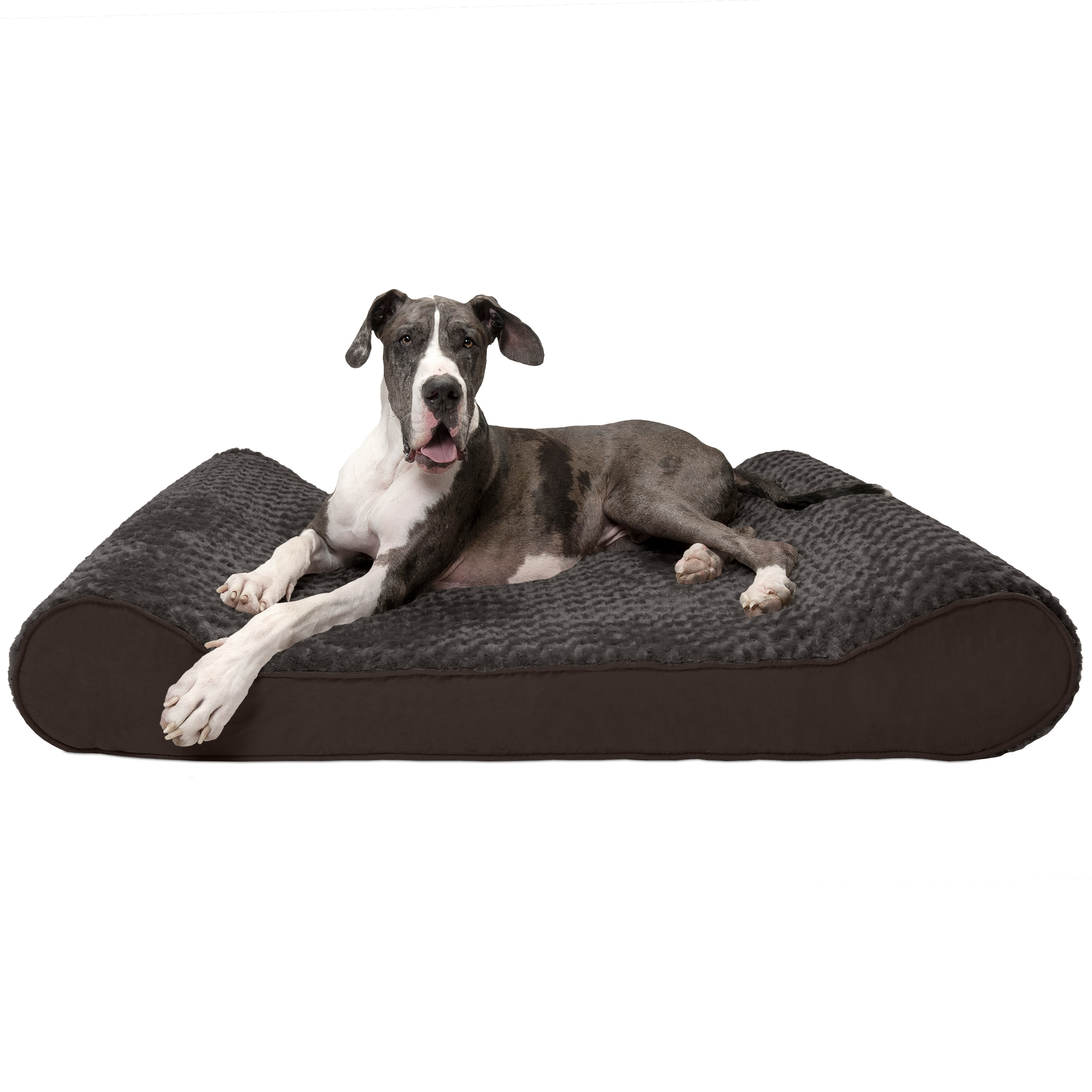 FurHaven Pet Dog Bed | Orthopedic Ultra Plush Luxe Lounger Pet Bed for Dogs & Cats, Chocolate, Giant