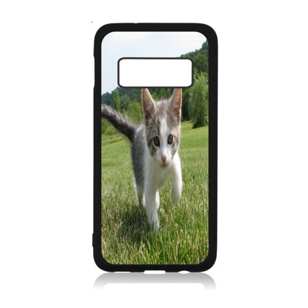 Sweet Kitten in the Grass Design Black Rubber Case Cover for The Samsung Galaxy s10e (s10 Edge) - Samsung Galaxy s10e Accessories - Samsung Galaxy s10e Case