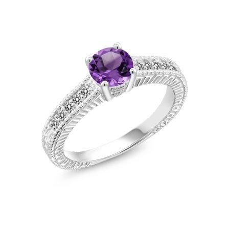0.87 Ct Round Purple Amethyst White Diamond 925 Sterling Silver Ring