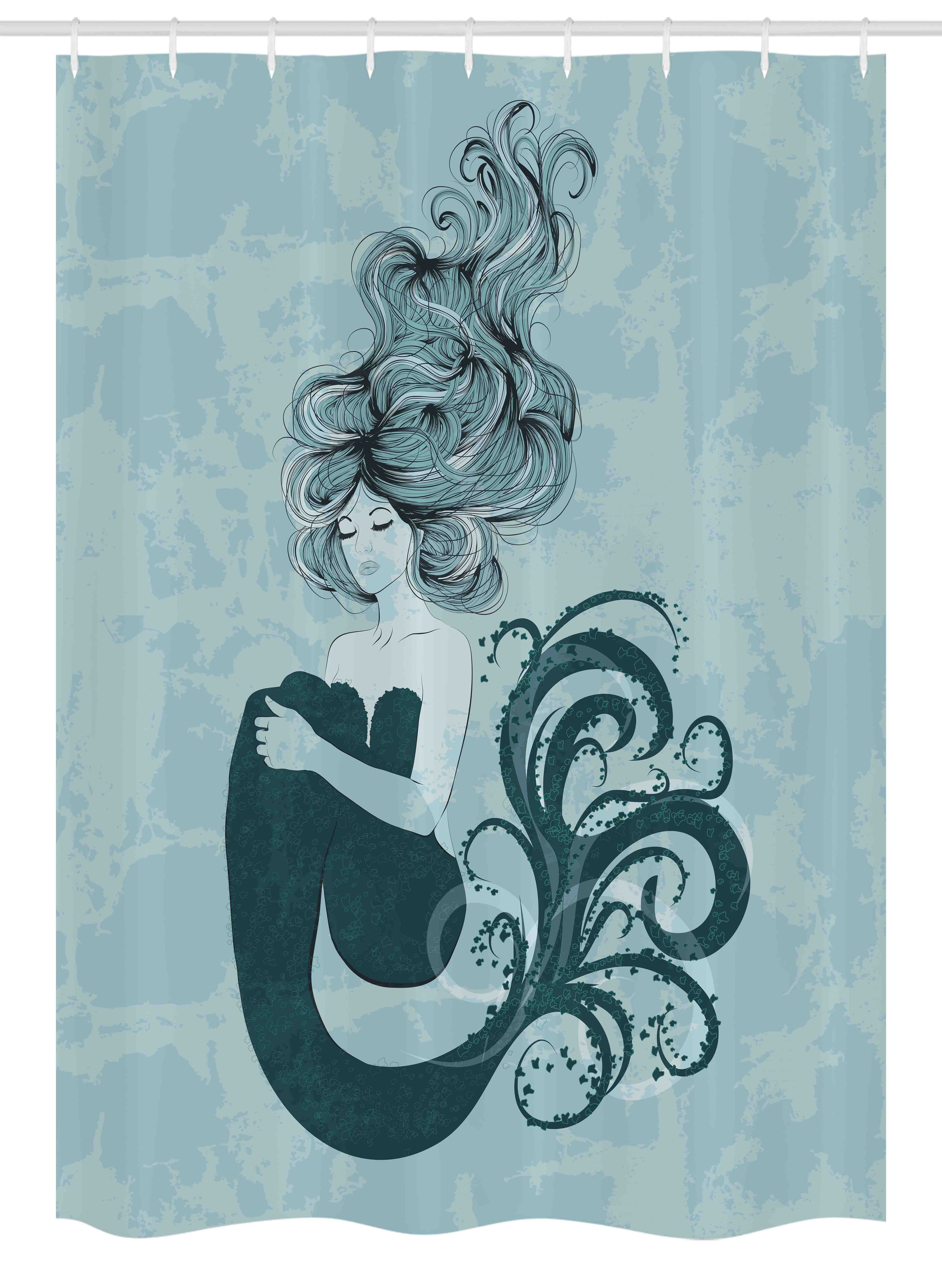 Mermaid Stall Shower Curtain, Sleeping Mermaid Design With Wavy Hair Hand  Drawn Effect Grungy Backdrop