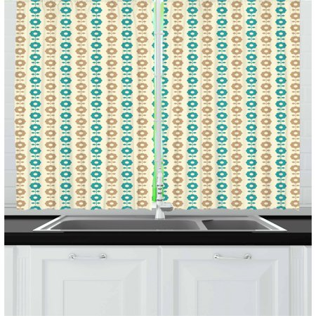 Brown and Blue Curtains 2 Panels Set, Abstract Daisy Flowers Nostalgic Simple Graphic Motifs Garden, Window Drapes for Living Room Bedroom, 55W X 39L Inches, Ivory Teal and Pale Brown, by