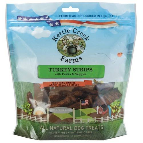 All Natural Kettle Creek Farms Dog Treats, 11.5oz, Turkey Strips with Fruits & Veggies