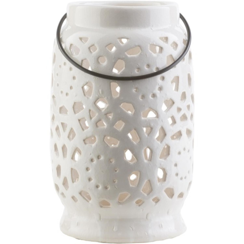 """9.5"""" Madison Links Ivory White Ceramic Medium Pillar Candle Holder Lantern"""