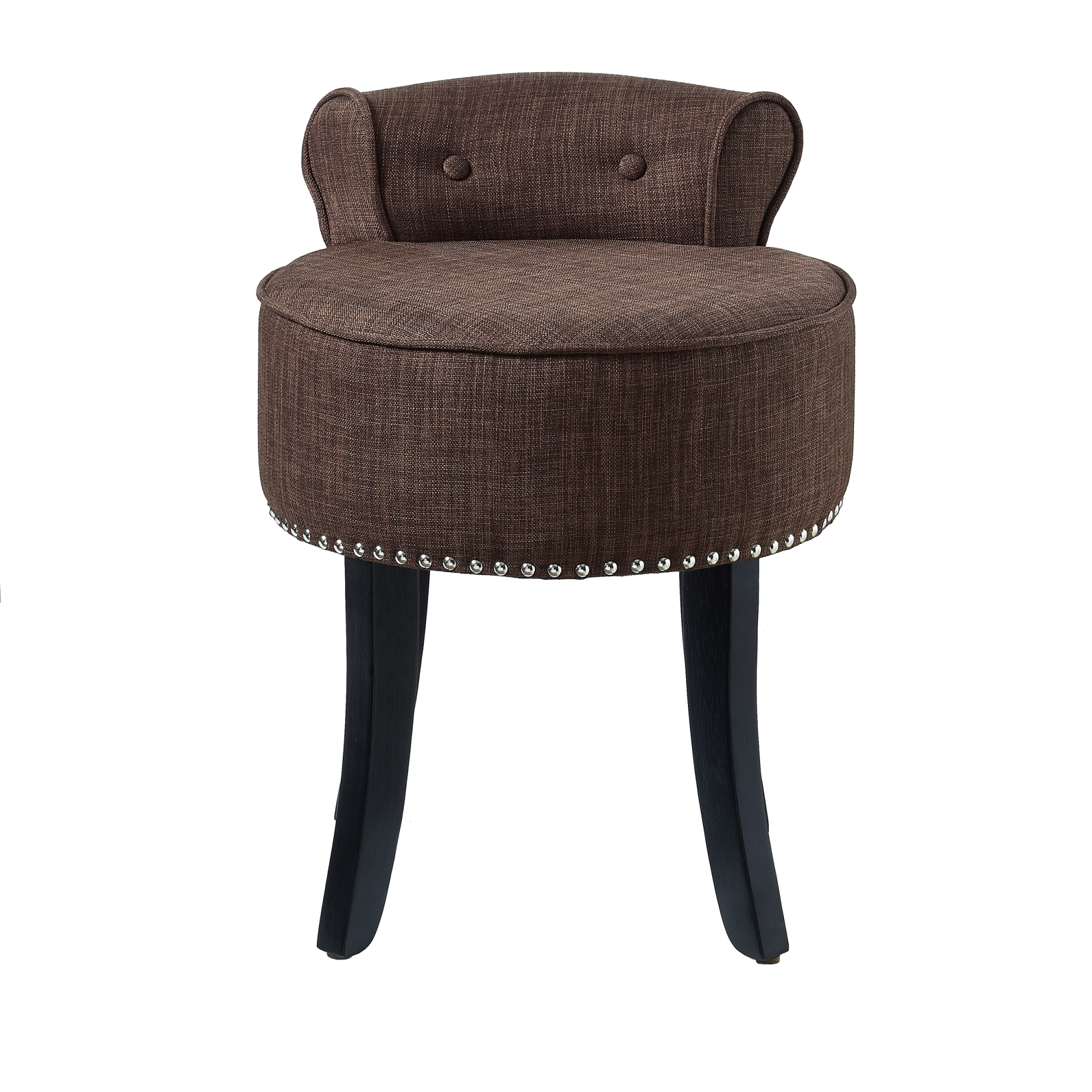 Vanity stools with back Trim Rolled Clarence Brown Linen Vanity Stool Nailhead Trim Roll Back Bedroom By Inspired Home Walmartcom Walmart Clarence Brown Linen Vanity Stool Nailhead Trim Roll Back
