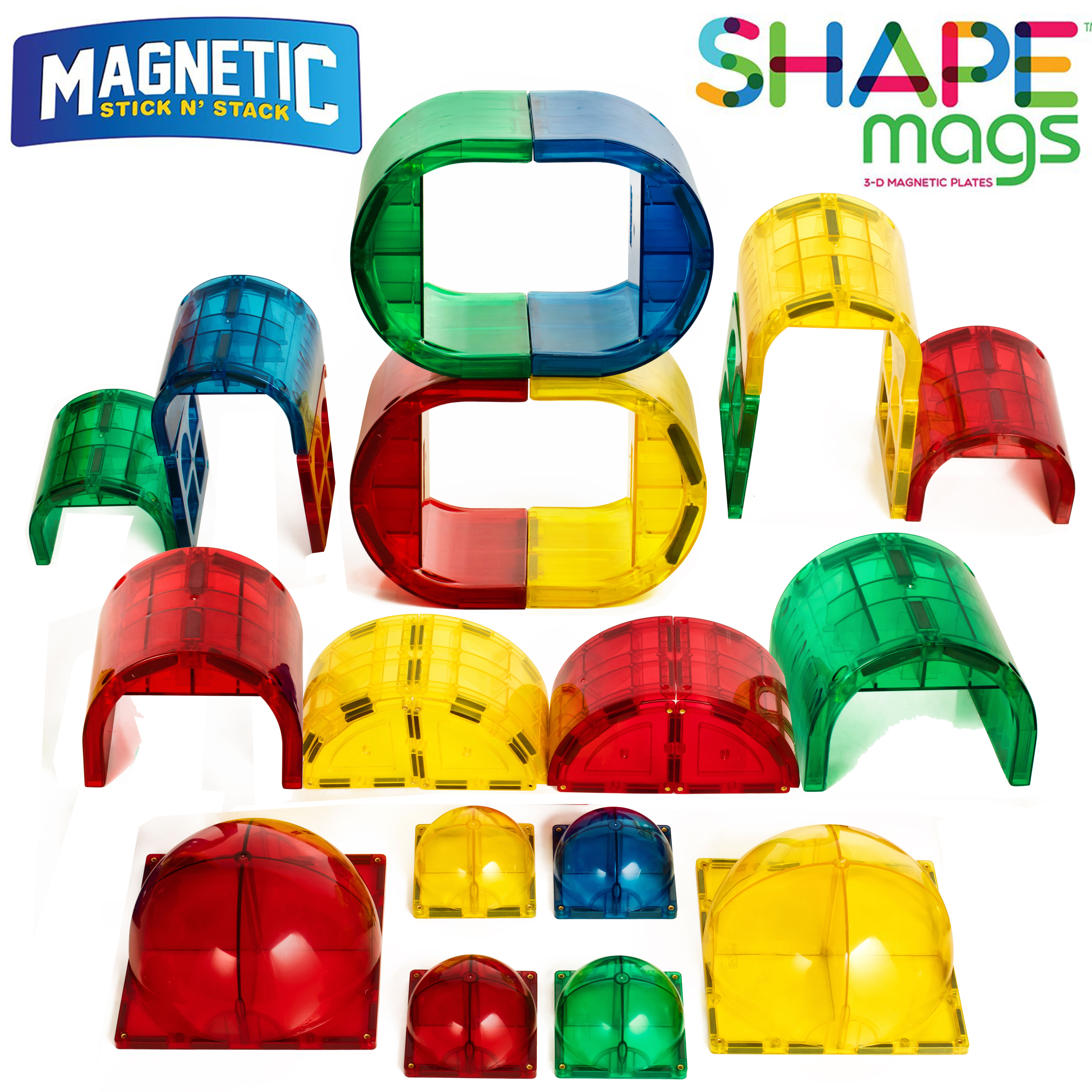 Shape Mags Magnetic 30 Piece Round Set. Includes 6X6 Domes, 3X3 Domes, Arches, Tunnels, and Arch Windows,... by Shape Mags