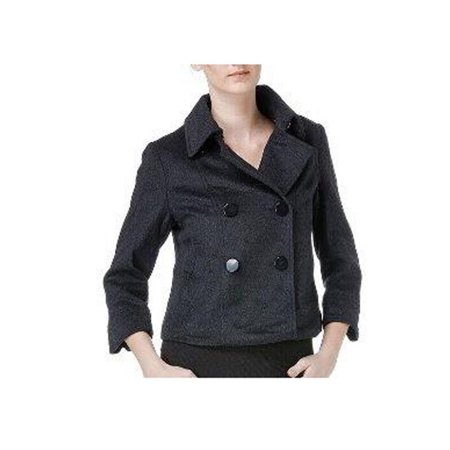 G.E.T. Double Breasted Boxy Cropped Blazer Coat Jacket Big Buttons 3/4 Sleeves Grey X-Small ()