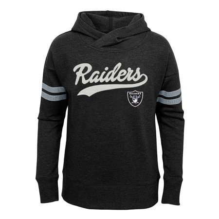 - Girls Youth Black Oakland Raiders French Terry Pullover Hoodie
