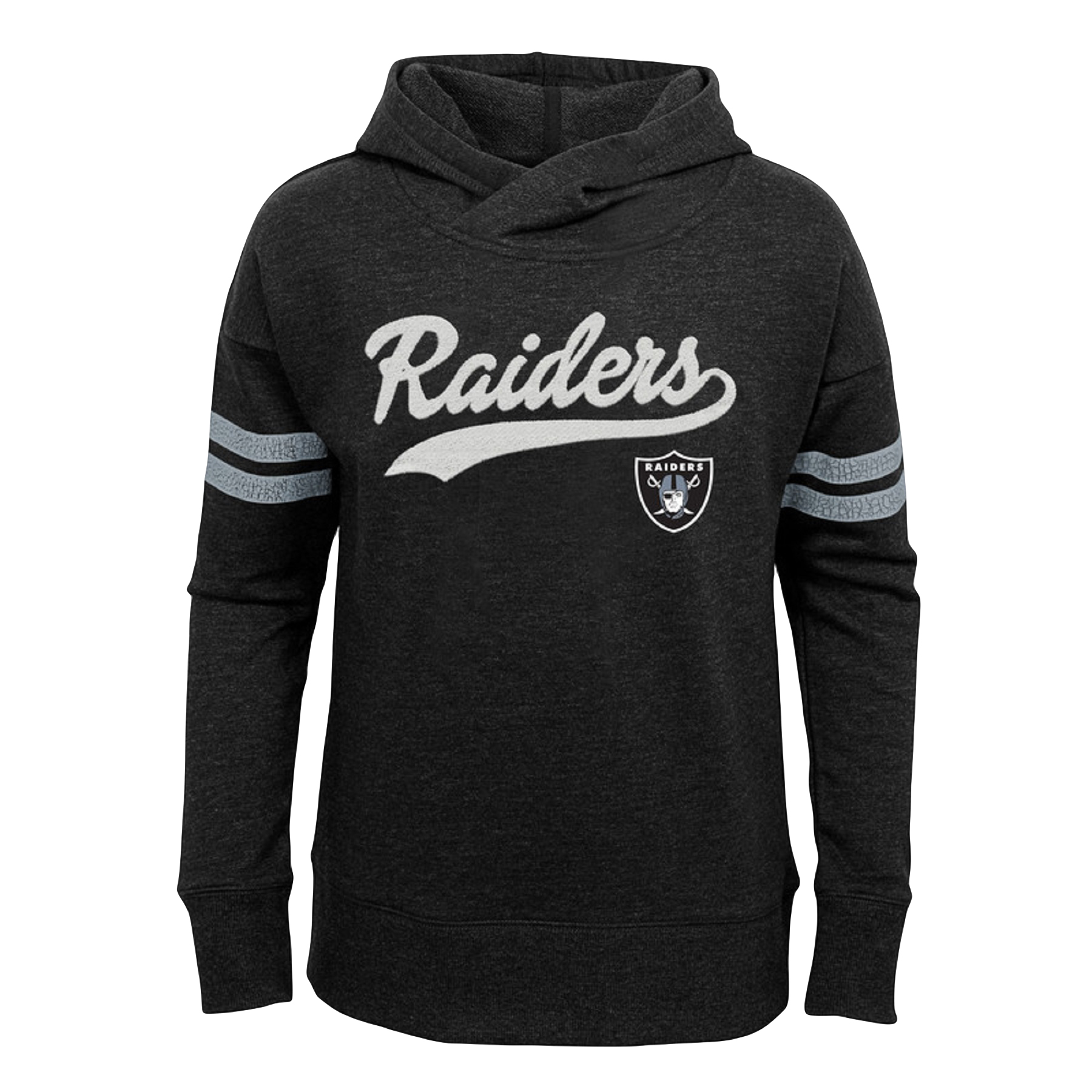 Girls Youth Black Oakland Raiders French Terry Pullover Hoodie