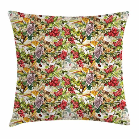Rowan Throw Pillow Cushion Cover, Mixed Pattern of Rural Wild Flowers Leaves and Berries Rustic Artistic Composition, Decorative Square Accent Pillow Case, 18 X 18 Inches, Multicolor, by Ambesonne