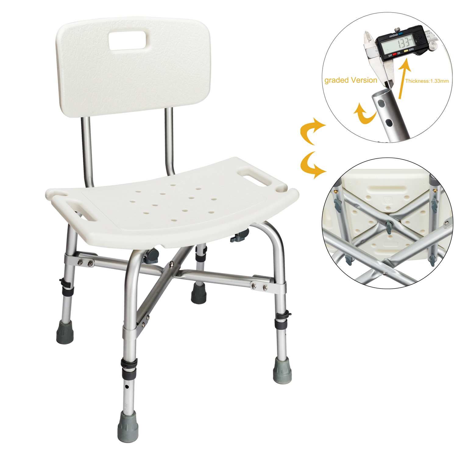 Zimtown 450LBS Heavy Duty Medical Shower Chair Bath Seat, 6 Height Transfer Bench Stool with Back