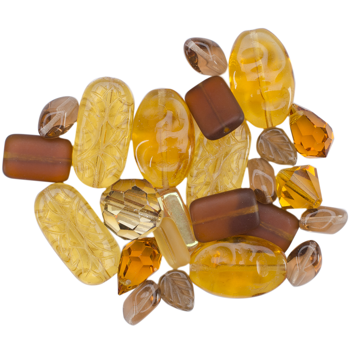 Square Tube Glass Beads 2oz-Sweep Amber Mix