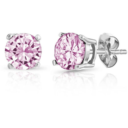 Round Pink Sapphire Gemstone Sterling Silver Stud Earrings