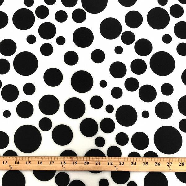 Neoprene Scuba Polka Dot Knit Fabric Polyester Spandex Sold BTY 58'' Wide (White / Black)