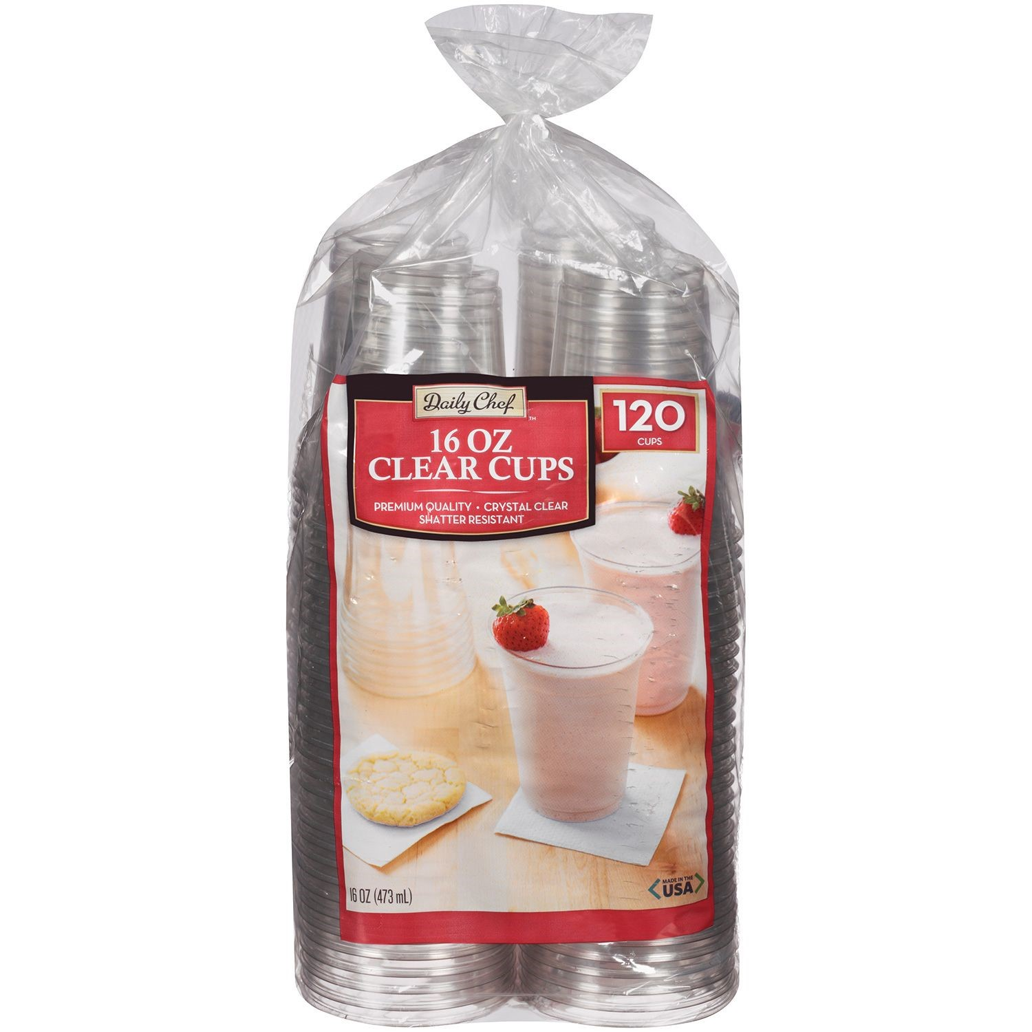 Daily Chef Plastic Cups, Clear, 120 Ct
