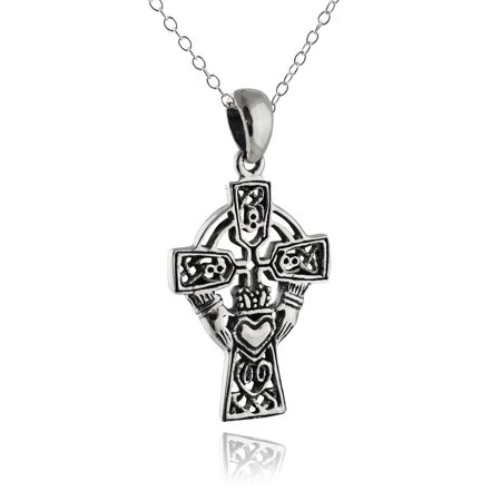 """Sterling Silver Irish Claddagh Cross Necklace, 18"""" Chain"""