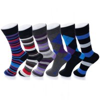 Alpine Swiss 6 Pack Mens Cotton Dress Socks Mid Calf Argyle Pattern Solids Set