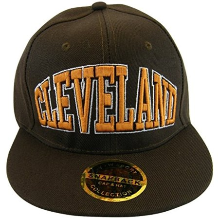 Cleveland Crowned Lettering Men's Adjustable Snapback Baseball Caps (Brown) ()