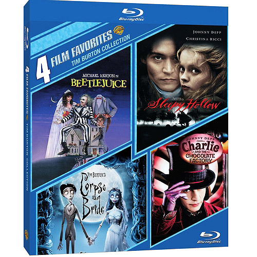 4 Film Favorites: Tim Burton - Beetlejuice / Sleepy Hollow / Corpse Bride / Charlie And The Chocolate Factory (Blu-ray) (Widescreen)