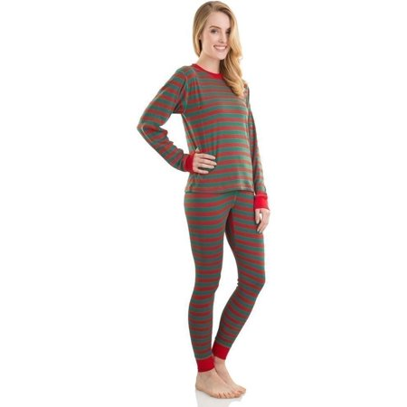 Elowel Unisex Red Green Long Sleeve Striped Christmas Pajama Set Adult