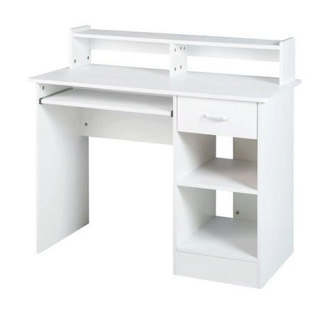 White computer Desk Small Office Desk Work Table with ...