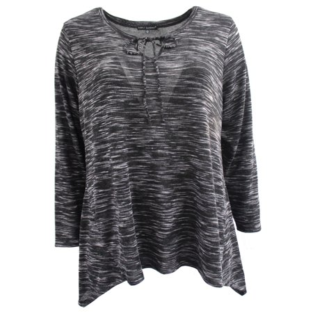 57f85eb57ef Women s Plus Size Long Sleeve Tie Chest Fashion Blouse Tee Shirt Knit Top  Black 1X G170