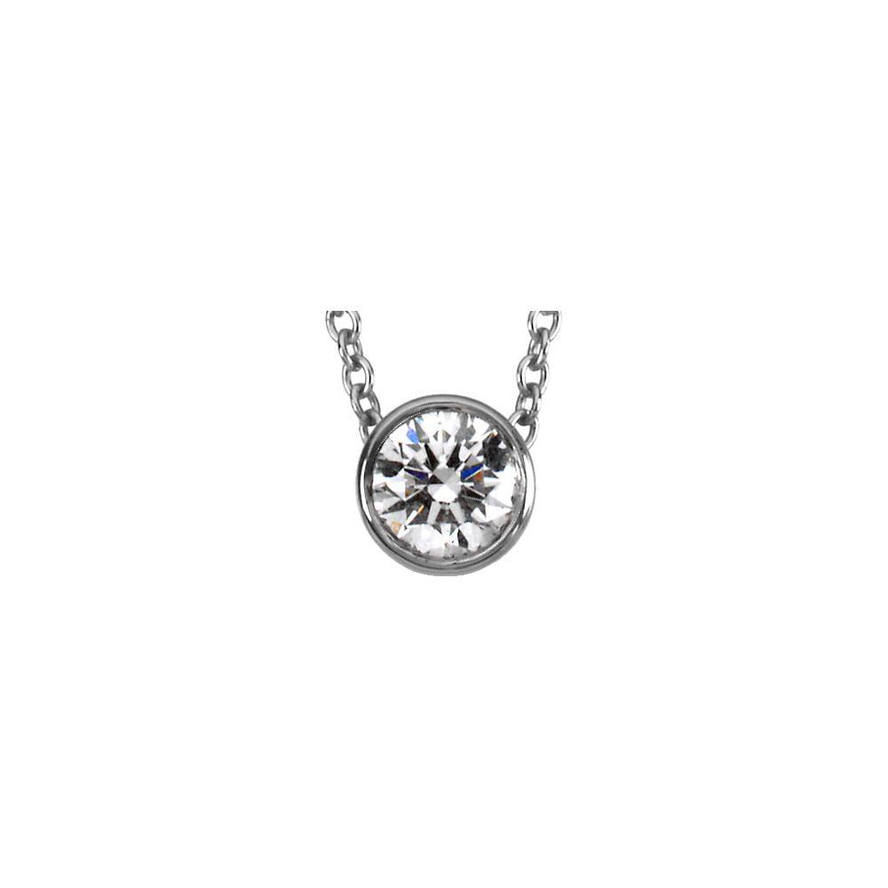 """Platinum 1 3 Ct Diamond Bezel Set Solitaire Pendant 18"""" Necklace by"""