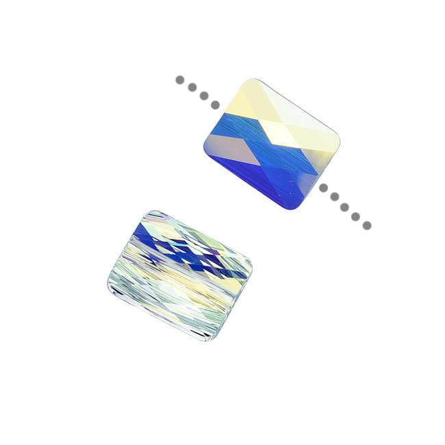 Swarovski Crystal, #5055 Rectangle Mini Beads 10mm, 2 Pieces, Crystal AB