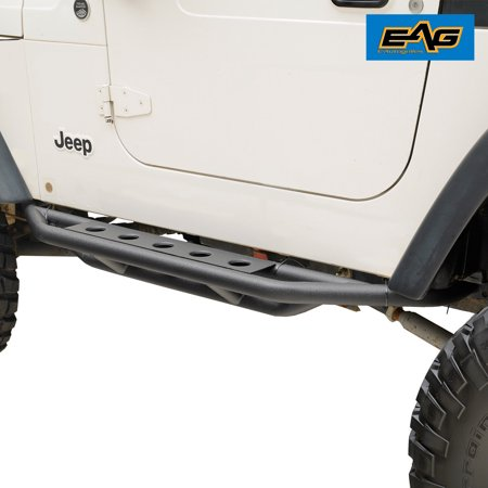 Jeep Wrangler Track Bar - EAG Black Rocker Slider Nerf Bars - fits 87-06 Jeep Wrangler YJTJ