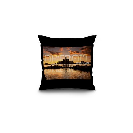 Detroit  Michigan   Orange Sky   Skyline  Lantern Press Photography  16X16 Spun Polyester Pillow  Black Border