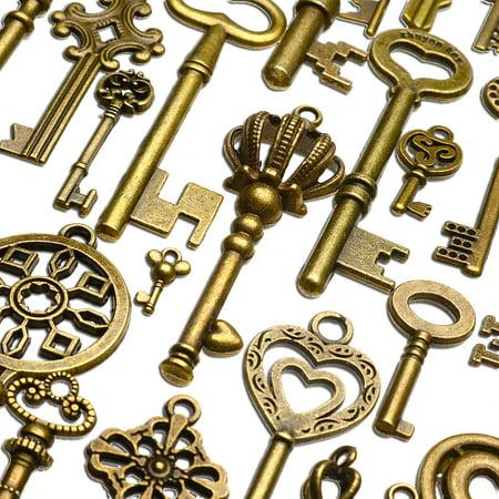 Bronze Heart Pendant Necklace (❤️ Christmas Gift ❤️ 130 PCS Old Look Skeleton Keys Lot Pendant Fancy Heart Bow Favors Antique Bronze brass For DIY bracelet necklace anklets craft Treasure)