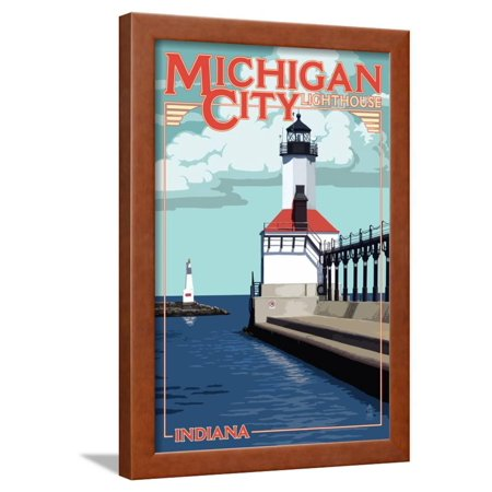 Indiana - Michigan City Lighthouse Framed Print Wall Art By Lantern (Lighthouse Michigan City)