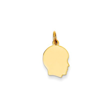 - 14k Plain Small .018 Gauge Facing Right Engravable Boy Head Charm