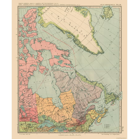 International Map - Canada, Greenland - Streit\'s Atlas 1913 - 23 x ...