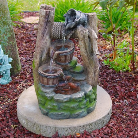 Sunnydaze Outdoor Wishing Well with Cascading Buckets Water Fountain with LED Lights, 19 Inch Tall Wishing Well Bucket
