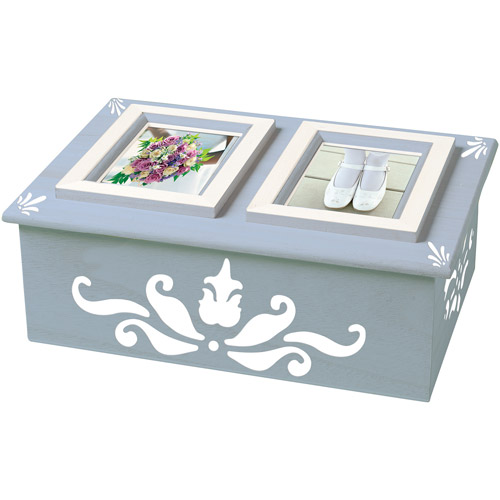 "Plaid Wood Memory Box Double Picture Frame, 6-1/2"" x 9"""