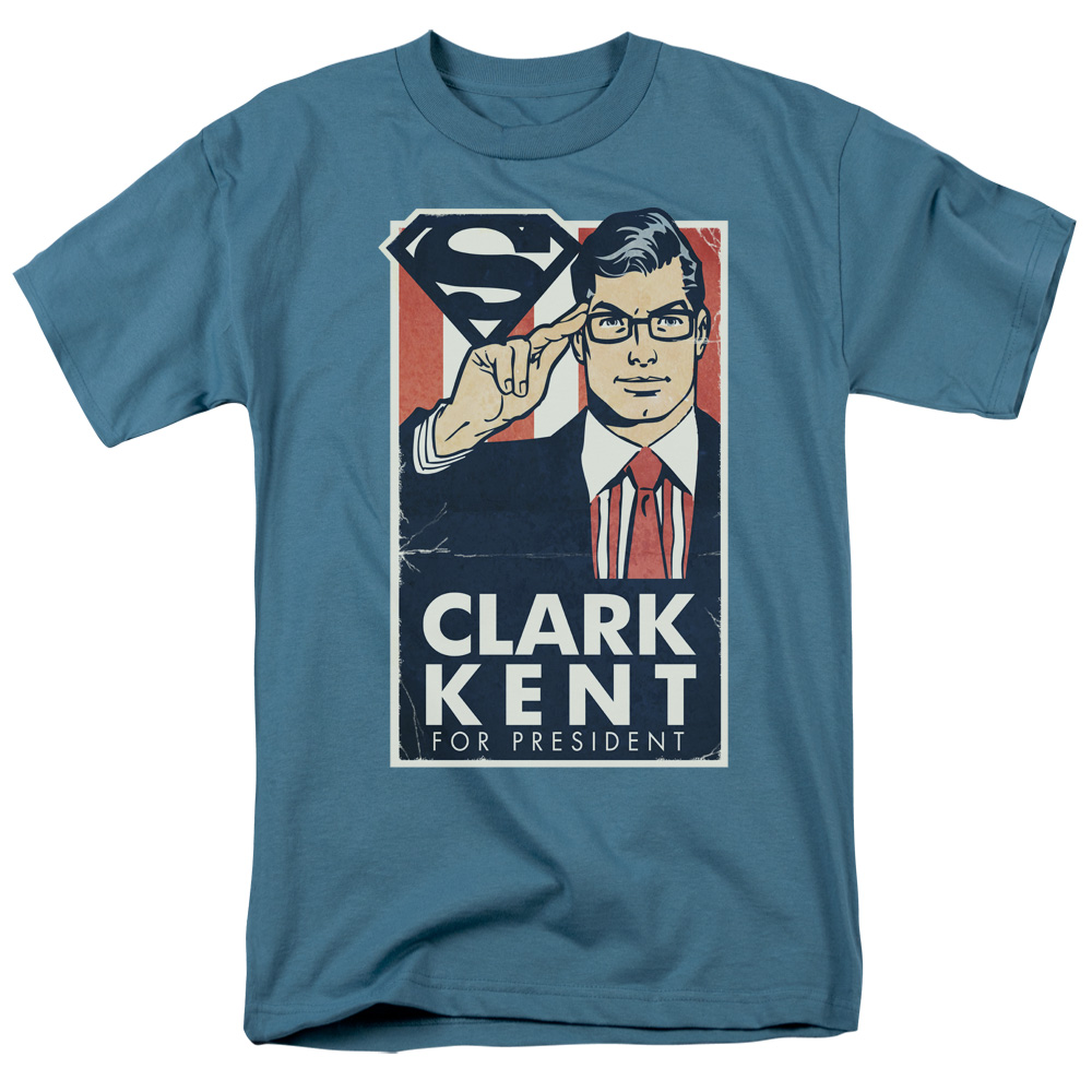 Superman/Kent For President   S/S Adult 18/1   Slate     Sm1911