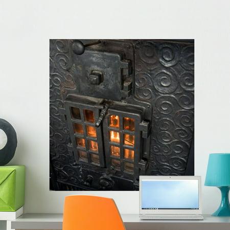Cast Iron Fireplace Wall Mural Decal by Wallmonkeys Vinyl Peel and Sti