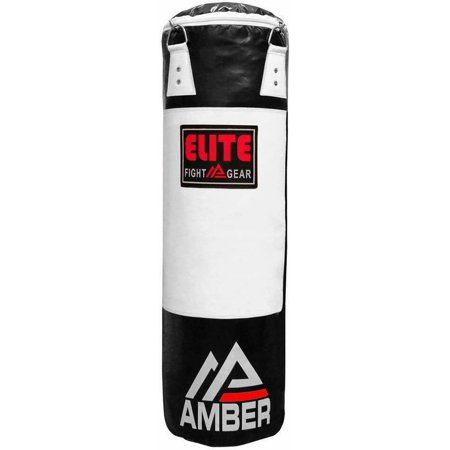 Amber Elite Boxing Filled Heavy Bag Kickboxing MMA Muay Thai Fitness Workout Training Monochrome, 6ft Filled Punching Bag