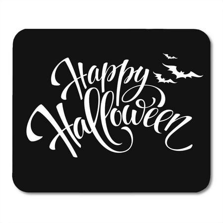 SIDONKU Gray Text Happy Halloween Message Pumpkin Party White Black Night Mousepad Mouse Pad Mouse Mat 9x10 inch](Halloween Messages)