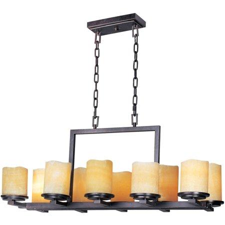 Chandeliers 10 Light Bulb Fixture With Rustic Ebony Finish Steel Material Medium Bulbs 17 inch 600