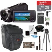 Sony CX405 Handycam 1080p Camcorder with 32GB SD Card and Focus Accessory Bundle